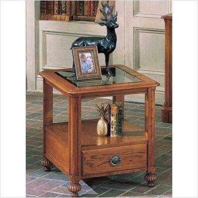 Image of Carlton Glass Top End Table in Oak (B0028X7FUK)