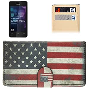 Retro USA Flag Pattern Leather Case with Credit Card Slot for Huawei Y300 / T8833