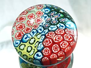 Murano Design Mouth Blown Rainbow Ruby Mix Millefiori Art Glass Paperweight PW-1123