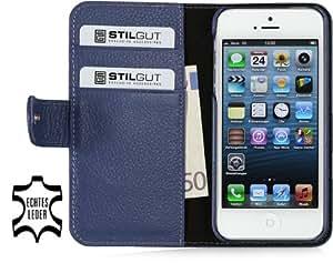 """Stilgut Ledertasche """"Talis"""" Book Type Case für Apple iPhone 5 & iPhone 5s aus echtem Leder mit Fach für Kredit- oder Visitenkarten, Blau"""