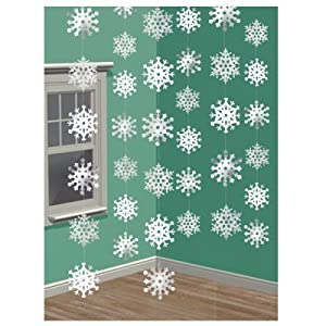 Snowflake String Christmas Decoration, pack of 6 strings