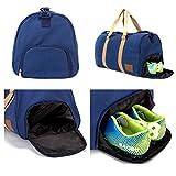 QANSI ボストンバッグ 2way ショルダー付 41L 大容量 1~2泊程度 キャンバス 旅行 ビジネス 軽量 スポーツバッグ シューズインバッグ 靴入れ (裏にポケット無し)ブルー