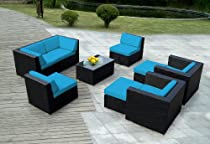 Big Sale Ohana collection PN0910blue Genuine Ohana Outdoor Patio Wicker Furniture 9-Piece All Weather Gorgeous Couch Set with Free Patio Cover