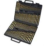 XtremepowerUS 115-Piece Titanium Nitrate Coated Drill Bit Set - BMC, Blow Mold Case