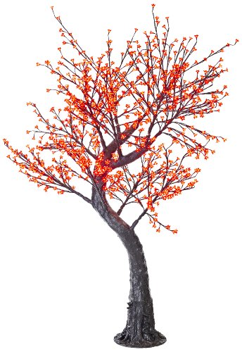 Arclite Nbl-200-8 Cherry Blossom Tree With Leaves, 7' Height, With Black Trunk, Red Crystals And Red Lights