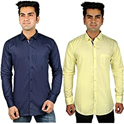 Nimegh Blue, Yellow Color Cotton Casual Slim fit Shirt For men's (Pack of 2)
