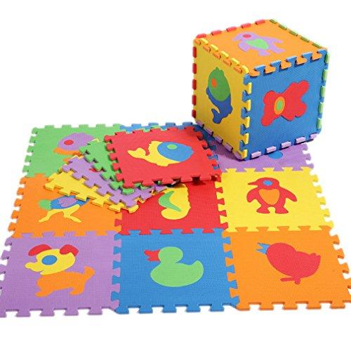 Lukis 10xKinder Matte Puzzlematte Bodenmatte Spielmatte Spielteppich Schaumstoffmatte Bunt Tiere