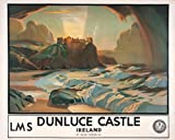 Northern Irish Travel Poster, Dunluce Castle, County Antrim, Northern Ireland