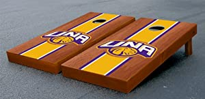 University of North Alabama UNA Lions Cornhole Game Set Stained Striped Wooden by Gameday Cornhole