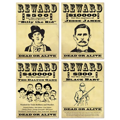Western Wanted Posters Billy The Kid, Jesse James, The Dalton Gang & Black Bart
