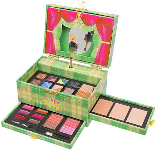 Christmas New Year Special Offer JumblTM Carry All Musical Colors Make up Kit - Included 12 Eyeshadows 3 Eyebrow Powders 1 Shimmer Face Powder 3 Face Powders 2 Blushes 6 Lip Colors and Applicators -JumblTM Brush and Mirror Included (Green)
