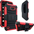 AT&T Tribute / Fusion 3 Case, E-Time (TM) AT&T Tribute / Fusion 3 (HUAWEI Y536A1) GoPhone Armor Series - Heavy Duty Dual Layer Holster Case Kick Stand with Locking Belt Swivel Clip (Free E-Time Brand LCD Screen Protector + Stylus Pen Included) (BLACK/RED)