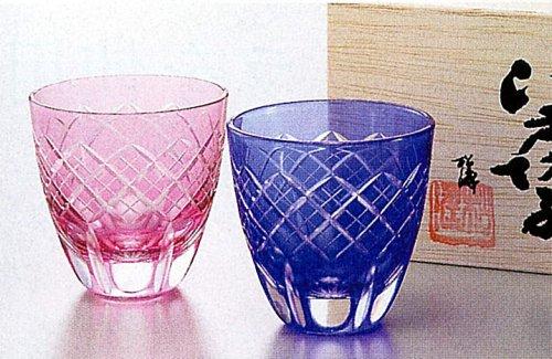 江戸切子 映見重ね矢来 ぐい呑ペア(グラス)