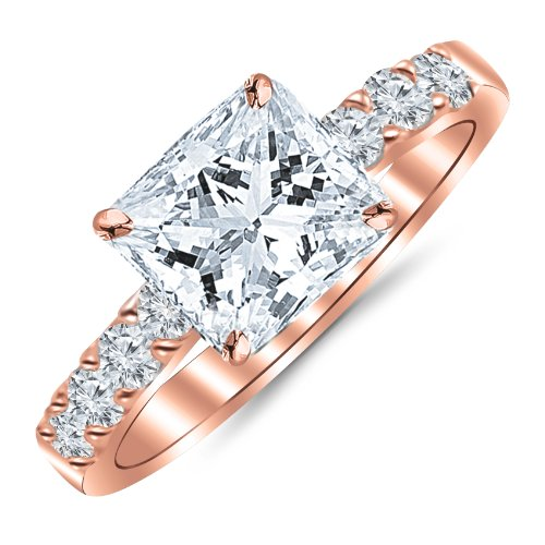1.10 Carat Princess Cut/Shape 14K Rose Gold Classic Prong Set Diamond Engagement Ring