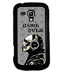 PRINTVISA Game Over Black skull Premium Metallic Insert Back Case Cover for Samsung Galaxy S Duos 2 S7582 - D5897