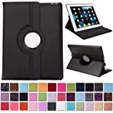 HDE 360 Rotating Leather Folio Case and Stand with Smart Cover Auto Sleep/Wake Feature for iPad 2/3/4 (Black)