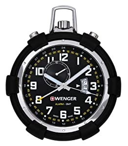 Wenger 73015 Traveler Alarm Black Dial Pocket Watch