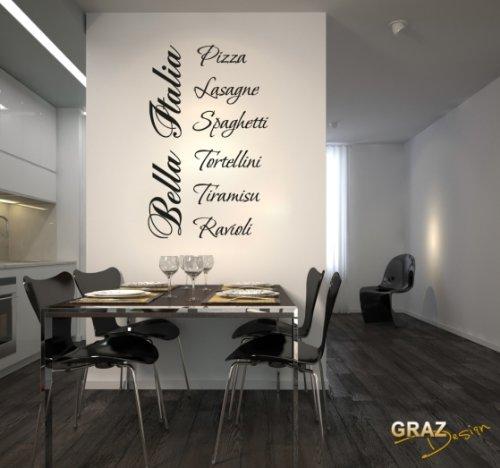 Sticker mural Tatouage mural autocollant mural Italie Pizza Tiramisu cuisine (Hauteur=80x50cm//Couleur=070 Noir)