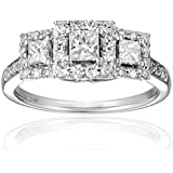 IGI Certified 14k White Gold Princess-Cut Diamond Engagement Ring (1 cttw, H-I Color, I1-I2 Clarity)