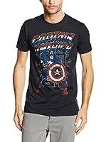 Marvel Camiseta Manga Corta Captain America Retro (Negro)