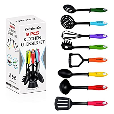 ZkitchenCo 9-Piece Kitchen Utensils Home Cooking Tools, Multi-Colored Gadgets Gift Set - Spoon, Slotted Spoon, Masher, Skimmer, Whisk, ladle, Pasta Spoon, Slotted Turner with Rotatable Stand