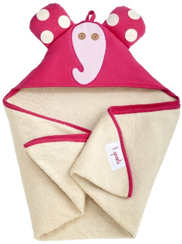 3 Sprouts Hooded Towel, Elephant, Pink