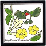 HUMMINGBIRD TILE, HUMMINGBIRD WALL PLAQUE, HUMMINGBIRD TRIVET by Besheer Art Tile, Bedford, New Hampshire, U.S.A.
