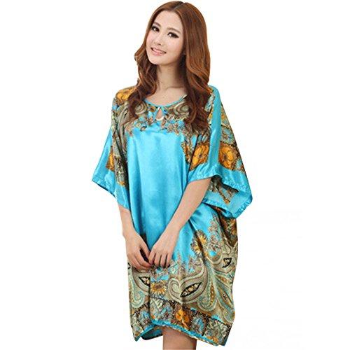 MyKazoe Women Pullover Nightgown Sleepwear Dress (M, Blue), womens ...