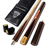 """CUESOUL 57"""" Handcraft 3/4 Jointed Snooker Cue With Extension/Joint Protector Packed in Leatherette Cue Bag D305"""