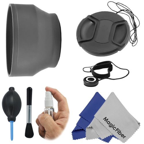 58Mm Essential Kit For Canon Rebel (T5I T4I T3I T3 T2 T2I T1I Xt Xti Xsi Xs Sl1), Canon Eos (1100D 700D 650D 600D 550D 500D 450D 400D 350D 300D 100D 60D 7D) - Includes: Soft Rubber Lens Hood + Deluxe Cleaning Kit + Snap-On Lens Cap (W/Cap Keeper) + Premiu