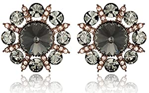 Sparkling Snowflake Design with Black Diamond Color Rhinestone Post Earrings [Swarovski Element Crystals]