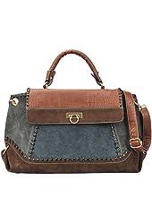 CHLORIS Blue Patchwork Suede Faux Crocodile Print Top Handle Doctor-style Shoulder Bag