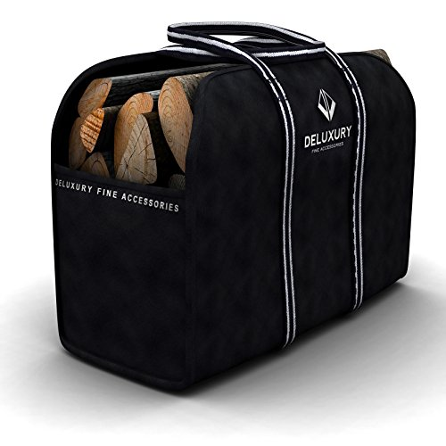Firewood Carrier - Deluxury Fireplace Accessories: Max Load Canvas Log Tote and Bag (Wood Stove Andirons compare prices)