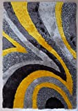 ~4 Ft. x 6 Ft. Shaggy Grey/Yellow Living Room Area Rug, Hand-tufted Now On Sale!