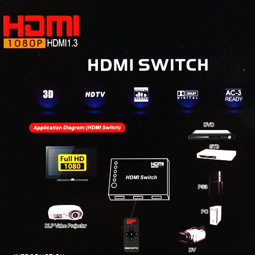 Supershopmall 3 Port Way Hdmi Switch Switcher Splitter Hdtv With Remote