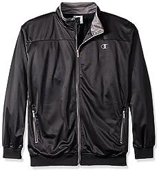Champion Men's Big-Tall Tricot Track Jacket Chest, Black/Charcoal, 3X/Tall