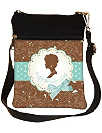 Snoogg Mothers Day Card Cute Vintage Frames With Ladies Silhouettes Cross Body Tote Bag / Shoulder Sling Carry...
