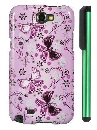 >>  Lady Butterfly Premium Design Protector Hard Cover Case for Samsung Galaxy Note II N7100 (AT&T, Verizon, T-Mobile, Sprint, U.S. Cellular) Android Smart Phone + Combination 1 of New Metal Stylus Touch Screen Pen (4