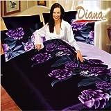Diana 6 Piece Queen Duvet Cover Bedding Set in Violet