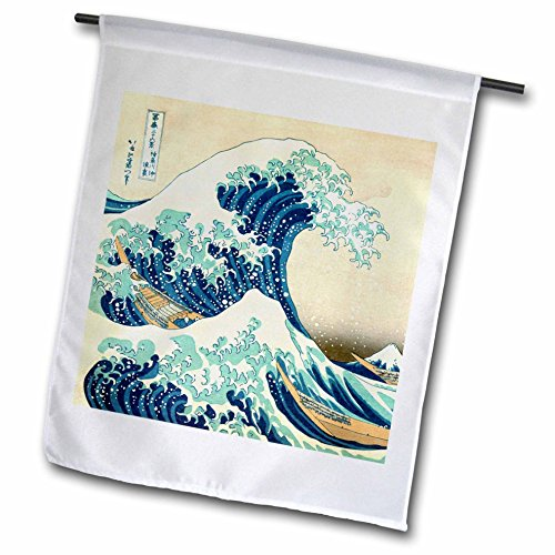 3dRose fl_155631_1 The Great Wave Off Kanagawa by Japanese Artist Hokusai-Dramatic Blue Sea Ocean Ukiyo-E Print 1830 Garden Flag, 12 by 18-Inch