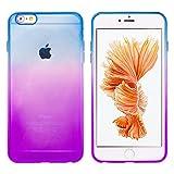 (モアクリスタル)MORE CRYSTAL iPhone6 / iPhone6s (4.7インチ)用 グラデーションケース [衝撃吸収 超薄型 安心交換保証] クリア ソフト シリコン ケース カバー ソフトケース ソフトカバー シリコンケース シリコンカバー クリアケース クリアカバー バンパー 人気 おしゃれ 防水ケース アイフォン6 アイフォン6s パープル ブルー a058 15ID12-3-PURBLU