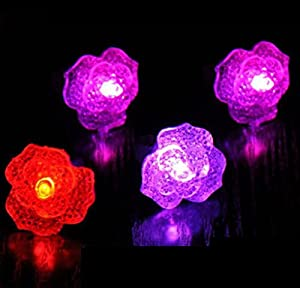 Domire 12 Pcs Rose Flower Shape Flashing Led Ring Luminous Finger Lamp