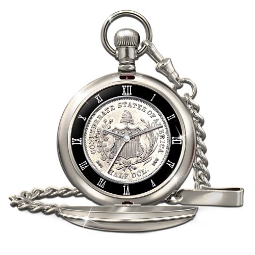 Civil War 150Th Anniversary Confederate Half Dollar Men'S Pocket Watch By Bradford Authenticated