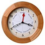 Contemporary Style Day And Time Oak Clock by DayClocks