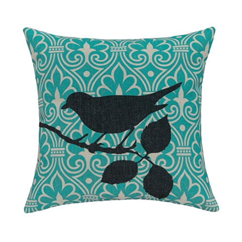 "Euphoria® Home Decorative Cushion Covers Pillows Shell Cotton Linen Blend Cute Shadow Birds Teal Color 18"" X 18"" front-521931"