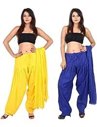 TEEJ New Women's Solid Cotton Punjabi Patiala Salwar With Dupatta Combo Pack Of 02 Pcs