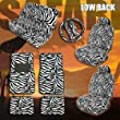 Complete Safari Zebra Low Back Car Mats Seat Covers Steering Wheel Cover Set