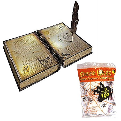 [Animated Halloween Prop Scary Moving Spell Book with Revolving Feather, Lights and Sounds and Spider Webbing] (Black Spider Animated Prop)