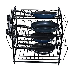ZESPROKA Kitchen Shelf,Kitchen Pan Pot and Lid Rack,Black
