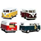 """Set of 4: 5"""" Classic 1962 Volkswagen Van 1:32 Scale (Green/Maroon/Red/Yellow)"""